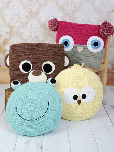 "Adorable Animal Pillows/ easy / fits 18"" round pillow form or 16"" x 16"" square form/ CROCHET pattern"