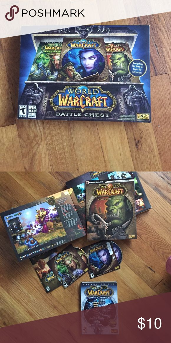 World of Warcraft Battle Chest Comes with a beginner's guide, two CDs for play, and UNOPENED Wrath of the Litch King! **You can have a 10 day free trial but after that you have to purchase your own subscription** (brand is Blizzard, not Nintendo) Nintendo Accessories
