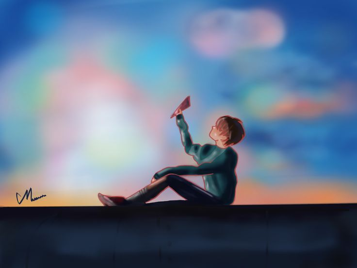 Sun-set on train #Jhope #bts #bangtan #springday #fanart