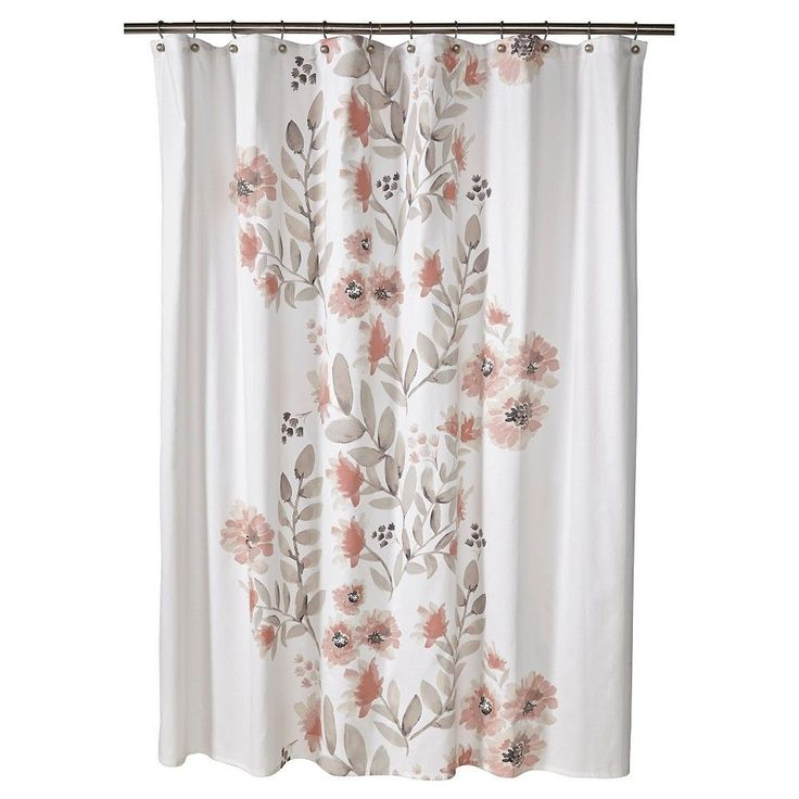 """Threshold Flat Weave Shower Curtain - Coral (Pink) Blooms (72""""x72"""")"""
