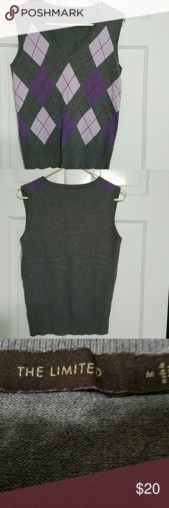 The Limited gray, purple vest sweater medium The Limited gray and purple vest sweater 100% cotton The Limited Sweaters