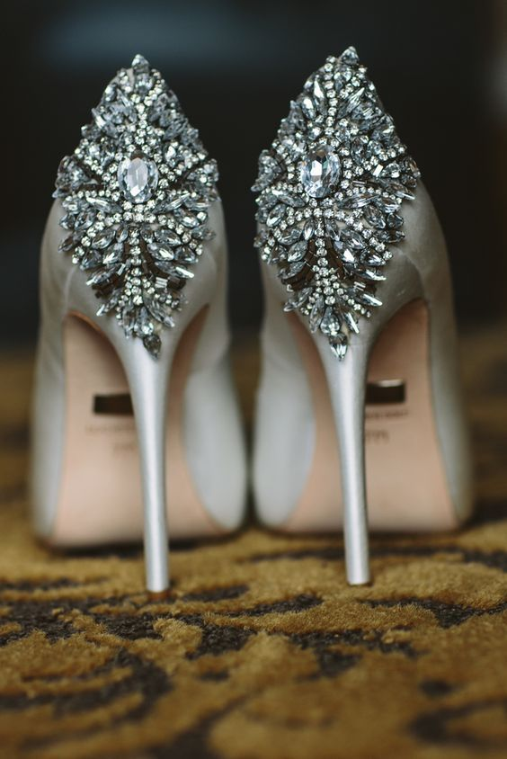Featured Photographer: The Grays Photography; Glamorous silver jewel embellished wedding shoes;
