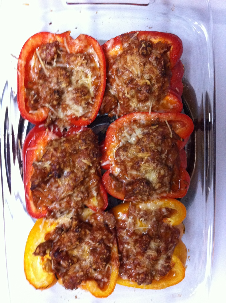 Bolognese stuffed bell peppers | beef dishes | Pinterest