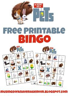 Free Printable Secret Life of Pets Bingo - great kids activity or party game