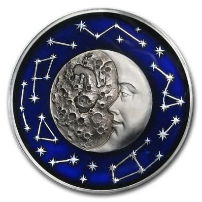2017 Niue 2 Ounce Celestial Bodies Moon Colored & Enameled Silver Coin with Antique Finish