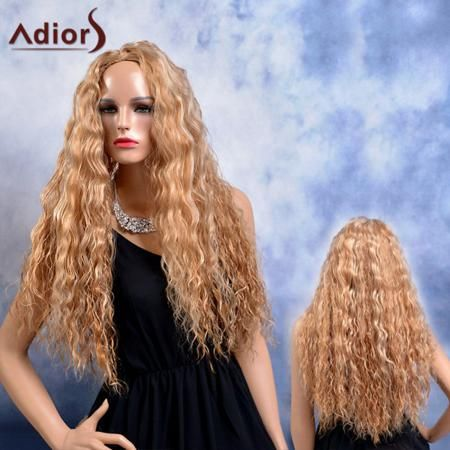 Adiors Long Shaggy Curly Highlight Middle Parting Synthetic Wig