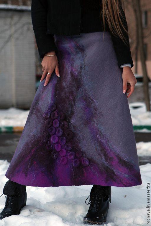 """Купить Юбка """"Северная"""" - серый, абстрактный, юбка валяная, юбка шерстяная, юбка войлок"""
