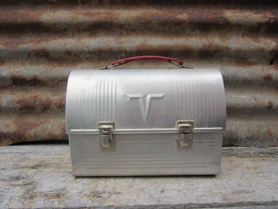 Vintage 1940s Dome Top Metal Lunch Box Old School Miners or Factory Worker Lunch Box Industrial Aluminum Lunch Box with Thermos Old Fashion
