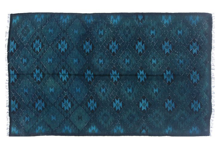 "4'10""x8' Viviane Flat-Weave Rug, Teal 