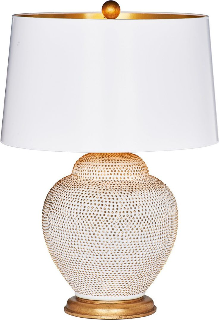 THE WELL APPOINTED HOUSE - Luxury Home Decor- Bradburn Gallery Santa Catalina White & Gold Lamp with White Drum Shade