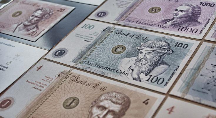 #directmailing #lebenswerte #printdesign #geld #banknotes #bankoflife #werbebucher #undzwar #calm #onehundred #platon #aristoteles #demokrit #seneca #rousseau #joy #do #trust #wow #moneyclip