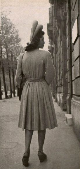 1944 vintage found photo girl on street jacket coat hat shoes city fashion style print 40s war era