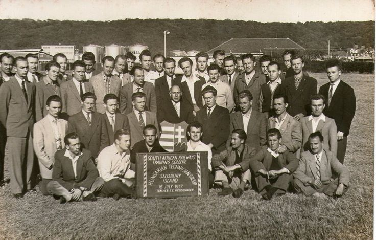This is a photo of hungarian refugees that settled in south africa it was taken in 1957 one year after the uprising it is of students for the railway studies my late husband is in this picture