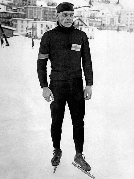 """(1924; Chamonix, France) """"Finnish speedskater Clas Thunberg who won five gold medals at the 1924 Winter Olympic Games""""."""