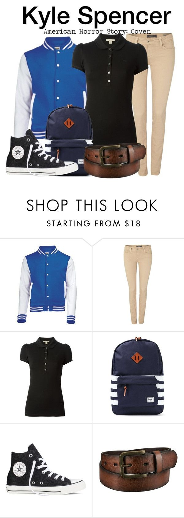 """Kyle Spencer - American Horror Story: Coven"" by nerd-ville ❤ liked on Polyvore featuring Salsa, Burberry, Herschel, Converse, Uniqlo, men's fashion, menswear, americanhorrorstory and ahs"