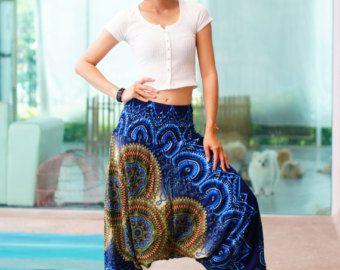 Nieuwe Harem broek Rayon broek, Boho Mandalas broek, elastische taille kleding strand vrouwen Baggy Casual Navy Blue kleur NG7569