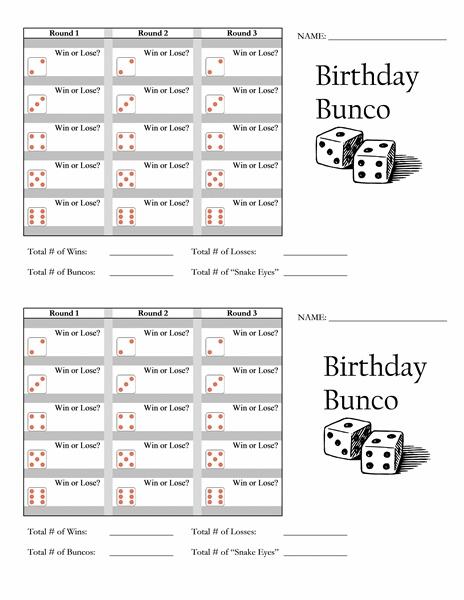 Birthday Bunco Score Card - Templates -