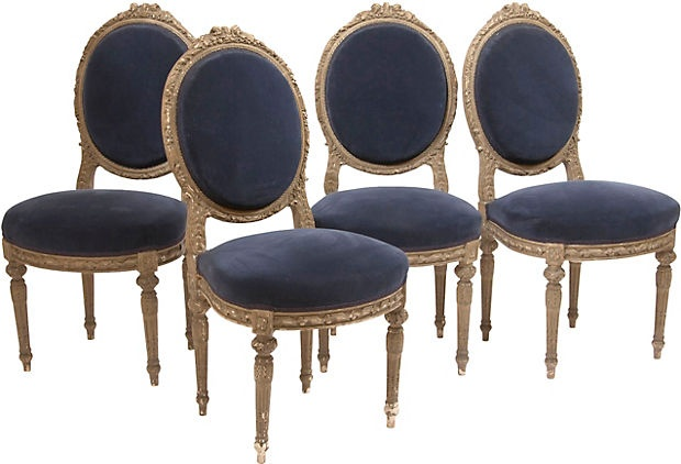 Fabulous Louis XVI-Style Chairs, wonderful patina, pretty velvet, but I would reupholster in something more fun, but it depends where you are using them. Pretty chairs.