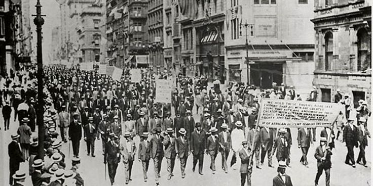 A coalition of Black civic and religious groups organized a silent march in Harlem on July 28, 1917 to protest the treatment of Blacks.
