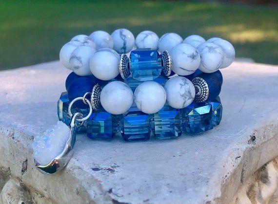 Boho bracelet Blue Bridesmaid jewelry gift set