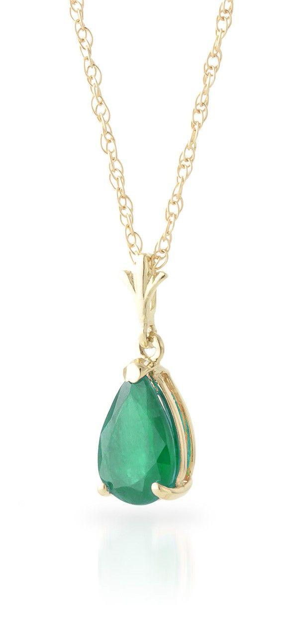 9K Gold Belle Halskette mit 1,0ct Smaragd Anhänger - 4256Y   QP Jewellers