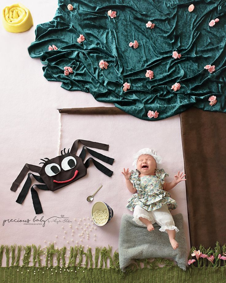 Hilarious Little Miss Muffet setup of a crying newborn baby girl. Spider hat bonnet curds and whey funny cute adorable unique creative Baby scene Baby ImaginArt by Angela Forker Precious Baby Photography Fort Wayne New Haven Indiana