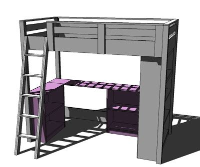 Ana White | Build a Loft Bed Small Bookcase and Desk | Free and Easy DIY Project and Furniture Plans