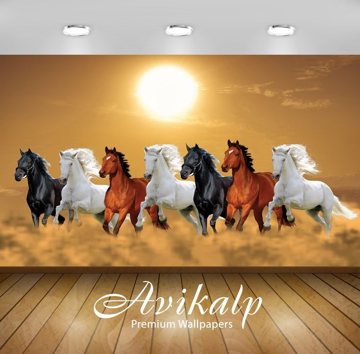 Avikalp Exclusive Awi3249 Seven Running Horses Vastu 7 Horses Seven Horses Vaast Horse Wallpaper Horse Canvas Painting 3d Wallpaper Painting