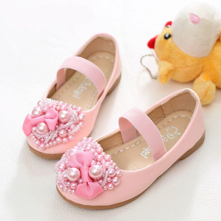 2016 New Girls Shoes Sandals For Children Kids Princess Shoes Bowtie Pearl  Princess Dance Sandals Shoes
