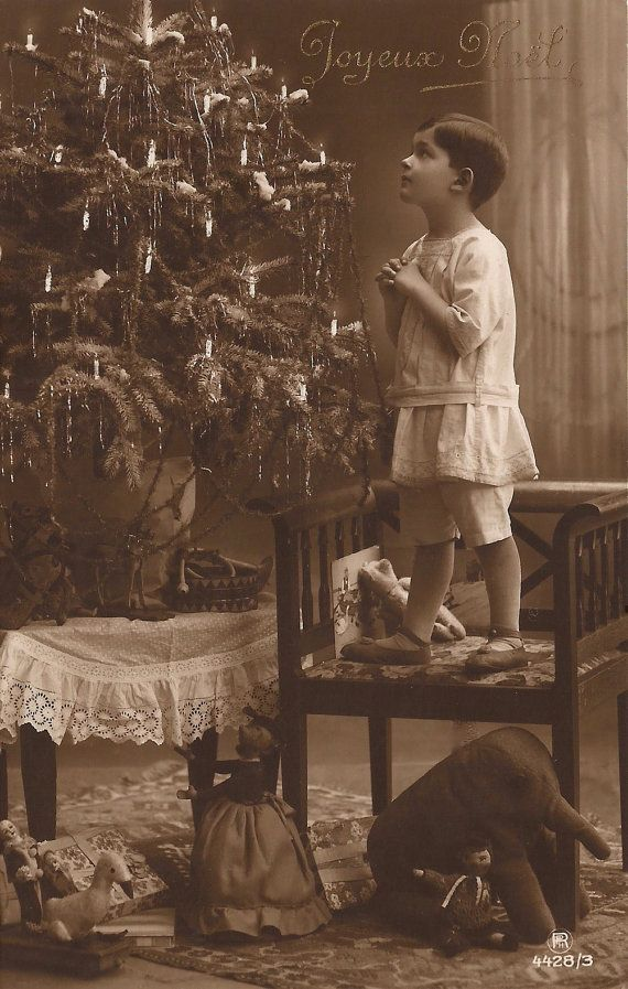 Edwardian Children, Magical Christmas Night Portrait of Little Boy by Tree with Fancy Toys... Original Rare 1910s French Postcard 24.12.1918