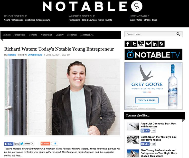 Notable.ca - Richard Waters: Today's Notable Young Entrepreneu: http://notable.ca/nationwide/entrepreneurs/richard-waters-todays-notable-young-entrepreneur/