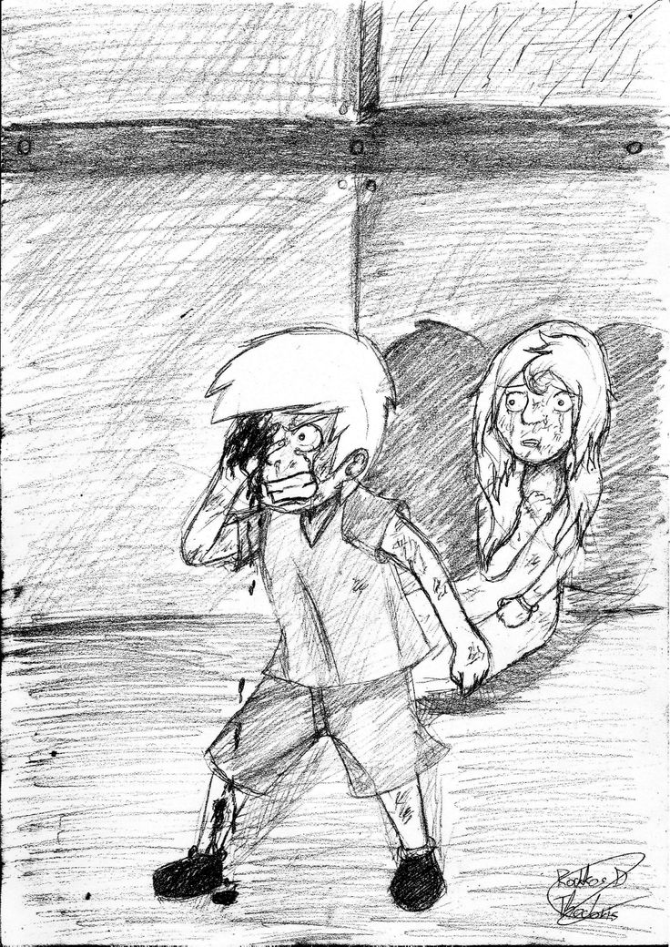 "Alex is protecting his sister.   ""The pain I feel on my right eye, isn't even compare with the pain I'll take if I lose her!""  -Alex Blaze (Kid)-  (Pencil)"