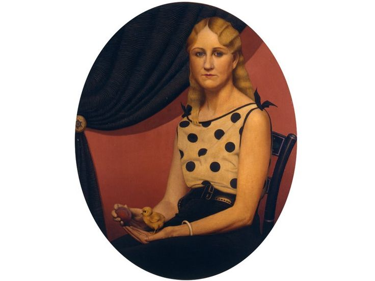 "Grant Wood's ""Portrait of Nan"" is as deserving of acclaim as ""American Gothic""-Read the story about Nan Wood, Grant's sister, the woman who was the female half of American Gothic. She is posed with a chck and a plum."