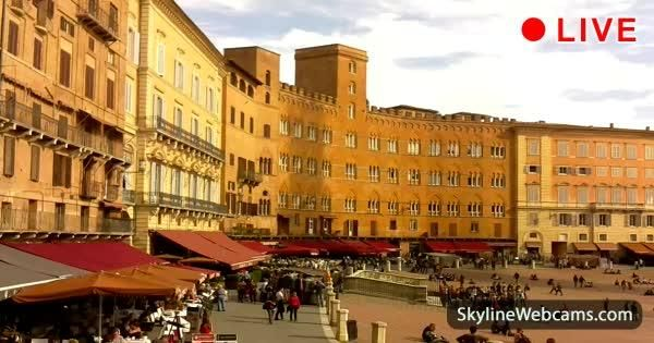 View of the city square, home to the famous Palio di Siena - Watch live now!