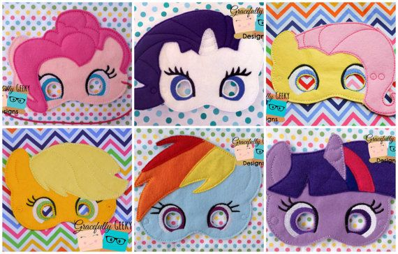 OMG Robyn needs these!!  Pony Felt Mask Set Embroidery Design - 5x7 Hoop or Larger on Etsy, $36.39 CAD