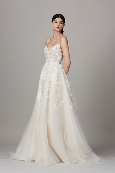 ee814b2d3c9 Tulle A-Line Wedding Dress with Plunging V-Neck