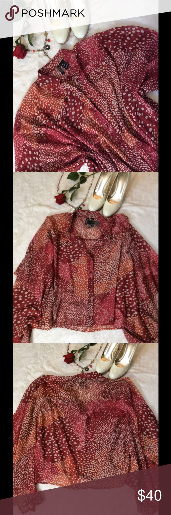 🦊NWT Bisou Bisou Ombré Dot Print Boxy Blouse 🦊Bisou Bisou. NWT Size S  Ombre Dot Print Dark Red( Maroon) Dark Orange and White 100% Polyester  Button down Boxy style Batwing 22in Shoulder top to hem  20in Armpit To Armpit  Sheer Bisou Bisou Tops Blouses