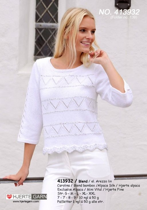 smart bluse med hulmønster strikket i Blend fra Hjertegarn