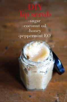 DIY Natural Lip Exfoliator: 1 Tbsp coconut oil, 4 tsp raw, organic sugar, dash of honey & vanilla