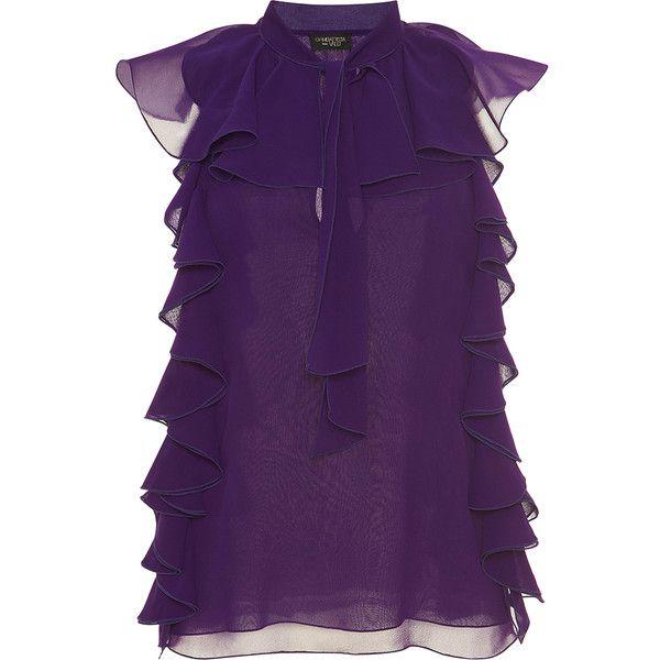 Giambattista Valli Silk Ruffled Blouse (879.445 CLP) ❤ liked on Polyvore featuring tops, blouses, flounce tops, sleeveless tops, sleeveless ruffle blouse, purple blouse and purple ruffle blouse