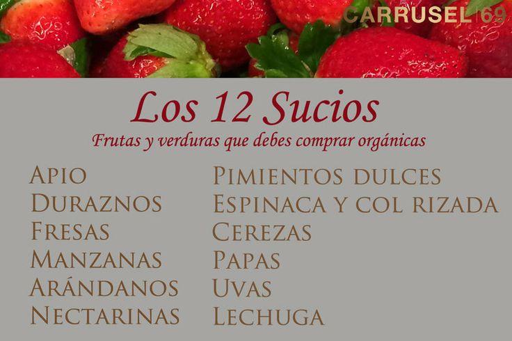 Las 12 frutas y verduras más afectadas por el uso de químicos. Si toda tu lista de compras no puede ser de productos orgánicos, asegúrate de que estos 12 sí lo sean - www.carrusel69.com  #tips #cocina #listadecompras #salud