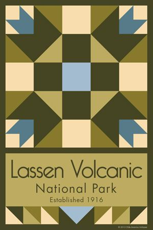 Lassen National Volcanic Park Quilt Block designed by Susan Davis. Susan is the owner of Olde America Antiques and American Quilt Blocks She has created unique quilt block designs to celebrate the National Park Service Centennial in 2016. These are the first quilt blocks designed specifically for America's national parks and are new to the quilting hobby.