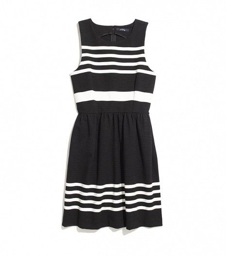 @Who What Wear - Madewell Afternoon Dress in Saltwater Stripe ($110) in True Black  You can't go wrong with a black and white striped fit-and-flare frock. It's the perfect canvas for those statement heels you've been itching to wear to the office.