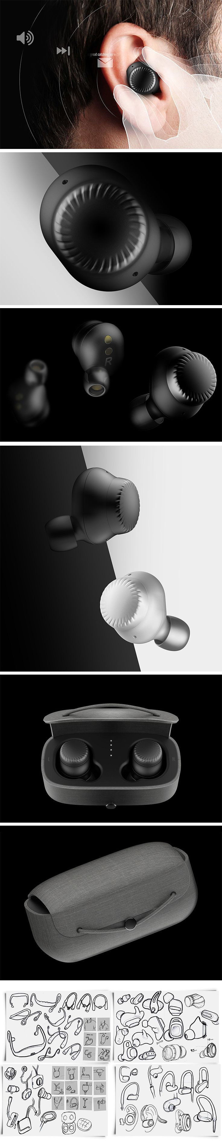 According to designer Thomas Le, wireless earbuds just aren't quite there yet. The touch controls can be difficult and tedious to navigate or, even worse, tend to dislodge them from the ears altogether! The fix? A spinning dial instead of buttons and touch surfaces. This micro-size rotating dial allows the wearer to quickly and accurately adjust volume, cycle through songs, or even fast forward through music or emails being read.