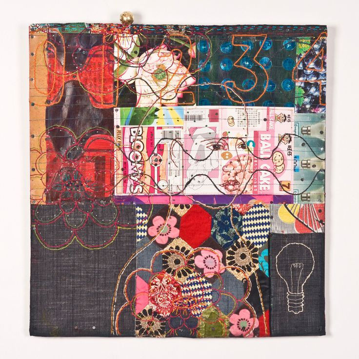 Wednesday. Louise Baldwin creates collaged wall hangings constructed from 'the mundane waste of domestic packaging'.