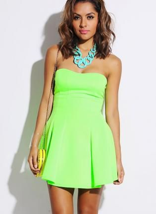 Neon Green Strapless Mini Dress #flaredress #partydress