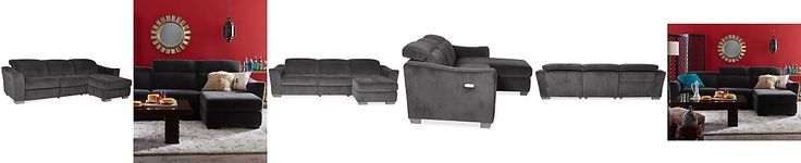 Sale $899.10 Alessandro Fabric 3 Piece Chaise Sectional Sofa with 1 Power Motion Recliner