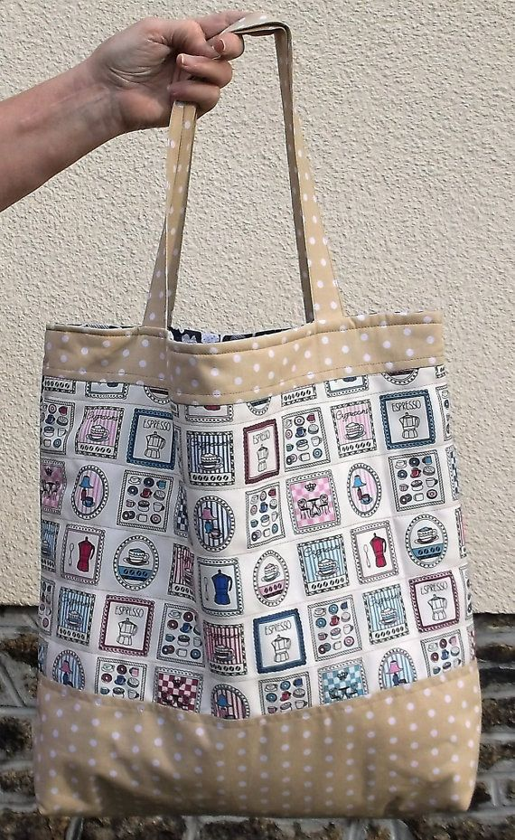 Cafe fabric Handmade Ladies Tote Bag, Beige color Polka dot cotton linen fabric bags, Women's Shoulder Bag, Shopping Lined shopper Tote,