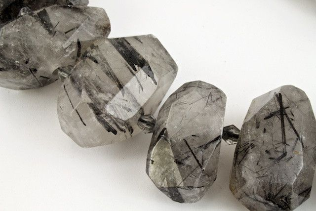 15-20mm Tourmalinated Quartz Faceted Nugget