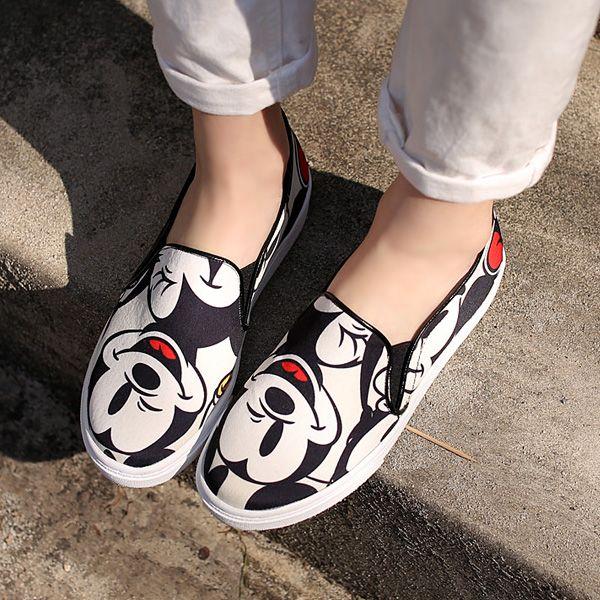Корея покупки обувь весной 2015 новые Микки Маус плоские туфли комфортно ног Холст обувь из категории Кеды и сникерсы женские: цена, фото, отзывы, доставка – купить в интернет-магазине Купинатао